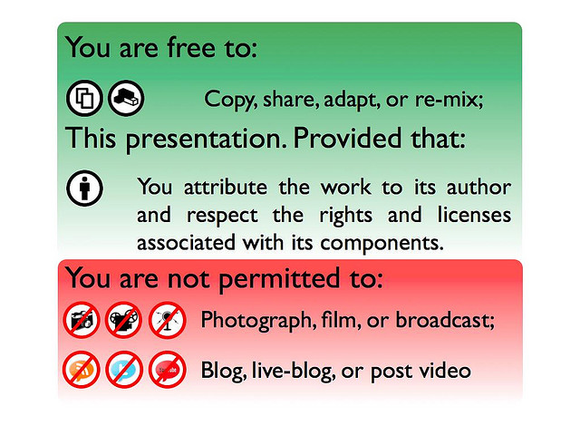 A restrictive talk licence prohibiting live streaming, tweeting, etc.
