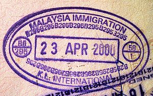 English: Passport entry stamp for citizens and...