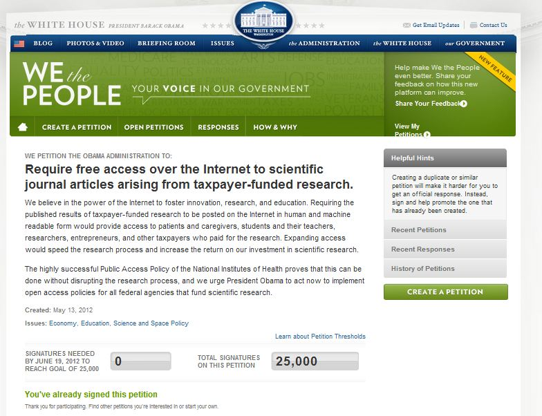Access to Research is now firmly on the White House (and other governments) agenda