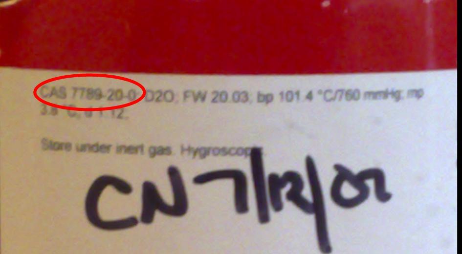 D2O bottle label