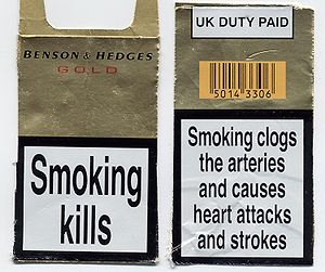 The front and back of a UK cigarette packet (i...